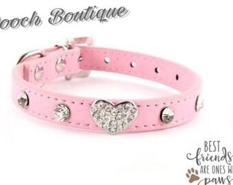 Heart Rhinestone collar pink and blue
