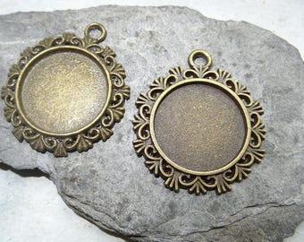 2 * 25 mm lace suport support bronze glass dome cabochon creation or connector