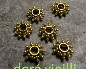 6 Gold antiqued spacers-Diam: 8.5x3 mm, hole: 3 mm