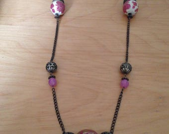 Lovely bronze necklace and Pearl Pink and gold