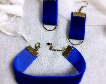Bohemian blue velvet dress