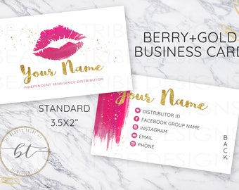 Lipsense Business Cards BERRY+GOLD - lipsense distributor - makeup artist