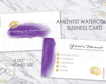 Lipsense BUSINESS CARD Amethyst Watercolor - lipsense distributor - makeup artist