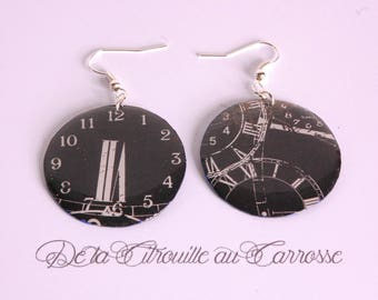 Watch dial, black and white earrings