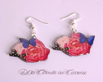Flowers and butterfly, romantic earrings