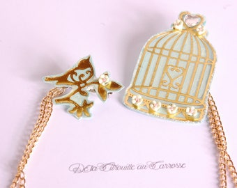 Golden Mint bird cage bird brooch