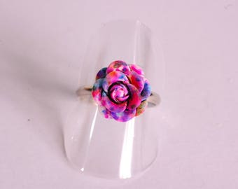 3D purple, blue and fuchsia flower ring