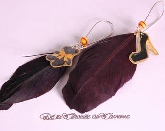 Earrings-woman, feathers, Teddy, stiletto heel