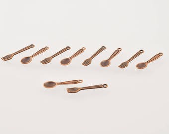 Forks and spoons copper charms