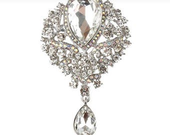 Large Crystal Brooch