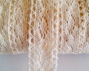 Beige color with geometric pattern cotton lace Ribbon