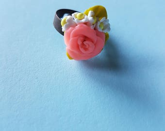 Polymer clay floral ring