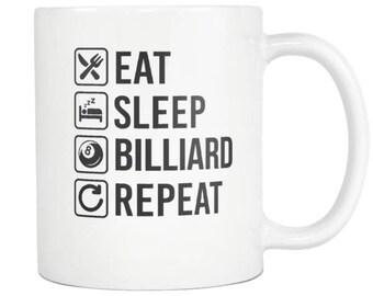 Billiard Mug, Billiard Gift ,Eat Sleep Repeat Coffee Tea Cup