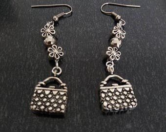 Earrings with small handbag