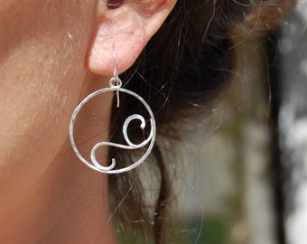 circle earrings in sterling silver, and spirals