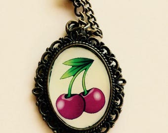 Lolita vintage pinup rockabilly cherries necklace