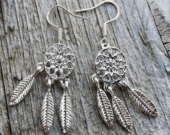 """""""Indie"""" cute pair earrings child attrapeurs dreams and mini charms silver feathers"""