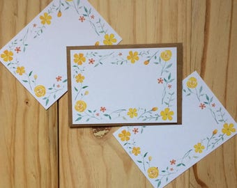 Floral Design Note Cards - Pack of 10 - Post Cards - Watercolour - Floral - Stationary - Greetings Card