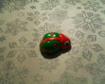 """brooch """"Ladybug"""" red and green"""