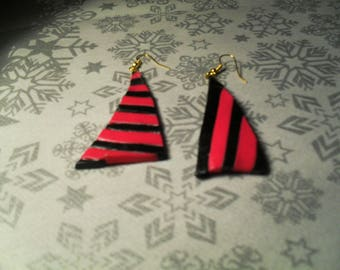 beautiful earrings unique, stylish and original black and pink