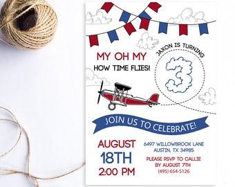 Airplane Birthday Invitation, Time Flies Birthday Invite, Plane Birthday Invite, Plane Party, Time Flies Invite, Digital Printable Invite