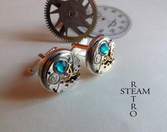 Blue steampunk cufflinks Steamretro - jewelry for men by Steamretro buttons mens cufflinks