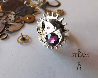 The Voltaire steampunk Amethyst ring