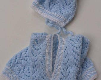 Knitted baby jacket and hat set