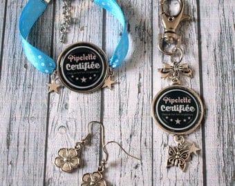 Set bracelet earrings jewelry Keychain / bag Chatterbox