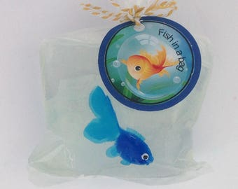 Fish in a bag, fish soap, party favours, kids soap, kids gift, soap favours, stocking stuffers, kids party,