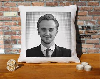 Tom Felton Pillow Cushion - 16x16in - White