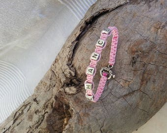 Good luck bracelet, Shamballa cotton rose.