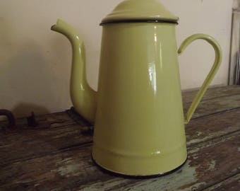 French Vintage Enamel Yellow Coffee Pot. Cafetière, retro, kitchenware