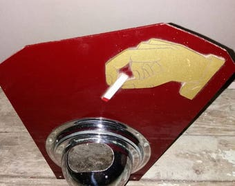 Vintage French 1960's Wall Chrome Astray Mounted on Perspects Plastic Back,Collectible,Bar ware,Gift,Red,Retro,Decor,Decorative