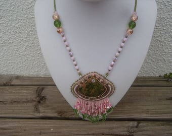 Necklace: spring embroidery
