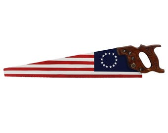 Hand painted Warranted Superior handsaw - American flag
