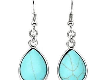 Earrings dangle drop silver plated - turquoise