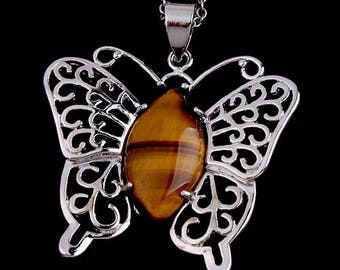 Butterfly pendant in silver plated - Tiger eye