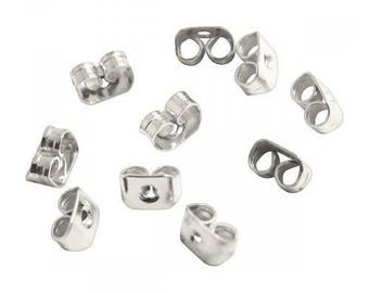 Push backs for stud earrings - silver plated (30 pieces)