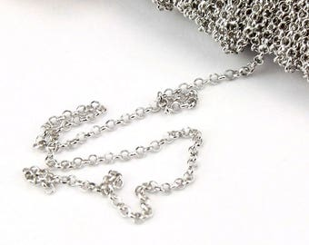 ES-0143 - 925 Sterling Silver Rhodium plated - Chain by meter link 1.3 mm