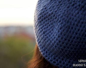 """Seaside"" hat around 58 cm acrylic Blue /Jeans hook"