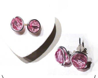 Earrings Silver 925/1000. chips with pink stones