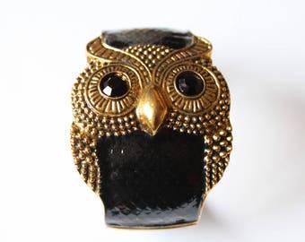 Bracelet stiff black OWL hand painted vintage style