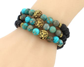 Gorgeous trio bracelets lava beads and jasper imperial turquoise