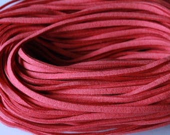 Suede cord, red, 1 m