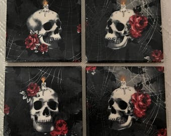Halloween Coasters Skull Head And Red Rose Coaster-Halloween Coasters - Ceramic Tile Decoupaged Macabre Decor-Drink/Barware-Decorative Acces