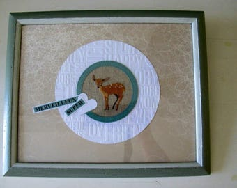 Painting of a fawn cross-stitched