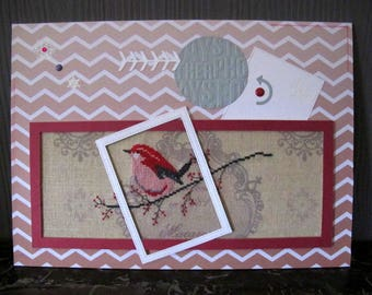 Framed bird picture and Chevron background