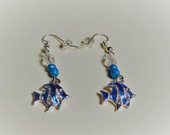 Blue tropical fish earrings