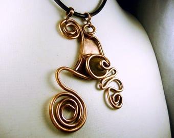 Copper spiral pendant